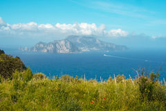 Punta Campanella and landscape of Sorrento`s peninsula and island of Capri. Punta Campanella landscape of sorrento`s peninsula and gulf, Naples, Italy Royalty Free Stock Image