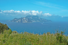 Punta Campanella and landscape of Sorrento`s peninsula and island of Capri. Punta Campanella landscape of sorrento`s peninsula and gulf, Naples, Italy Royalty Free Stock Images