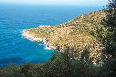 Punta Campanella and landscape of Sorrento`s peninsula and island of Capri. Punta Campanella landscape of sorrento`s peninsula and gulf, Naples, Italy Royalty Free Stock Photos
