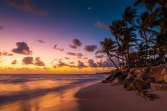 Punta Cana beach at sunrise in  Dominican Republic.  Royalty Free Stock Photos