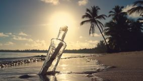 Punta Cana, Dominican Republic. Bottle with a massage on the beach at tropical island. stock video footage