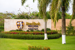 PUNTA CANA, DOMINICAN REPUBLIC - MAY 22 2017: Signboard golf club `Hard Rock`. Copy space for text. Royalty Free Stock Photography