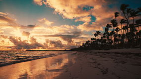 Punta Cana, Dominicana. Beautiful tropical sunrise on the beach. Punta Cana. Beautiful tropical sunrise on the beach stock video footage