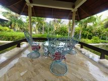 Punta Cana meeting. Hotel  big table and chairs Stock Photography