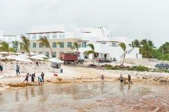 PUNTA CANA, REPÚBLICA DOMINICANA - 18 DE JUNIO DE 2015: El intentar local de la gente quita la mala hierba del agua en playa Clas Foto de archivo libre de regalías