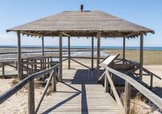 Punta Candor beach, Rota, Cadiz, Spain. Fishing weir, fish weir, Stock Photos