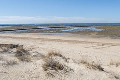 Punta Candor beach, Rota, Cadiz, Spain. Fishing weir, fish weir, Royalty Free Stock Photography