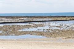 Punta Candor beach, Rota, Cadiz, Spain. Fishing weir, fish weir, Stock Image