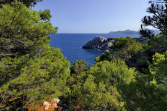 Punta de Capdpera, Majorca, Spain, a fragment of coast, panorama Royalty Free Stock Photos