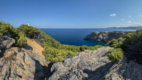 Punta de Capdpera, Majorca, Spain, a fragment of coast, panorama Royalty Free Stock Photography