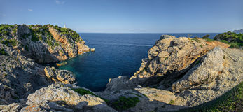 Punta de Capdpera, Majorca, Spain, a fragment of coast, panorama Royalty Free Stock Images