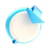 Punta de la flecha de la curva al botón circular Imagen de archivo libre de regalías