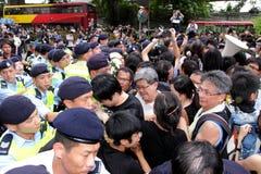 Punta de prueba disidente de la muerte de la demanda de los manifestantes en H.K. Fotografía de archivo libre de regalías