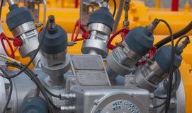 Punta de prueba ultrasónica del flujómetro del gas natural Foto de archivo libre de regalías