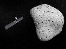 Punta de prueba y cometa 67P Churyumov-Gerasimenko de Rosetta Foto de archivo libre de regalías