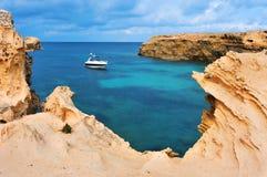 Punta de Sa Pedrera kust i Formentera Arkivfoto