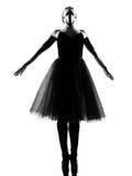 Punta dei piedi di posa di condizione del danzatore di balletto della donna Immagine Stock Libera da Diritti