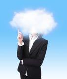 Punta del dedo de la mujer de negocios a la nube Fotos de archivo
