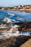 Punta del Diablo Beach, Uruguay kust Arkivfoto