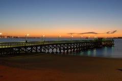Punta del Este Beach Pier. Parada 3 Beach Pier, Punta del Este at Sunset Royalty Free Stock Photo
