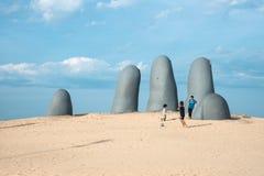 Punta del Este strand i Uruguay, atlantisk kust Royaltyfria Bilder