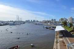 Punta del Este, Uruguay, nine june two thousand and sixteen. Boa. Ts in puerto in uruguay next to the city Royalty Free Stock Photo