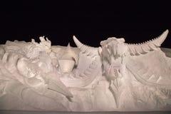 Punta del progresso della manifestazione della scultura di neve sullo stato di Final Fantasy fotografia stock libera da diritti