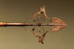 Punta della lancia d'argento decorata Immagine Stock