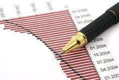 Punta della penna e diagramma #5 di affari Immagini Stock Libere da Diritti