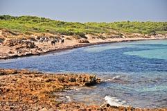 Punta dellaSuina strand i Salento Arkivbilder
