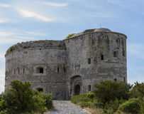 Punta di Arza is an Austro-Hungarian fort at the Cape of Miriste. Adriatic Sea Royalty Free Stock Photos
