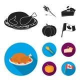 Punta di grano, un pezzo di torta con i mirtilli rossi, zucca, bandiera nazionale Icone stabilite della raccolta di giorno di rin Immagini Stock