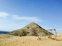 Punta Gallinas landscape. Punta Gallinas, colombia hilltop and wooden structure Stock Image