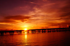 Punta Gorda Bridge at Sunset. Sunset falls over Punta Gorda Bridge over Charlotte Harbor royalty free stock image