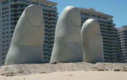 Punta Hand. The iconic hand sculpture in Punta del Este Stock Photography