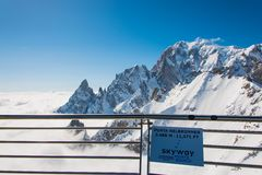 Punta Helbronner - supporto Blanc Fotografie Stock