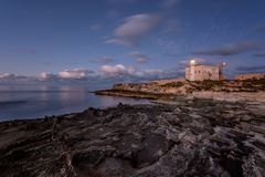Punta Marsala Lighthouse, Favignana. Sicily Italy stock photo