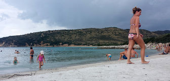 Punta Molentis plaża, Villasimius - 26 Septmber, 2016: uninident Obraz Stock
