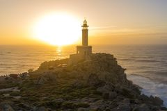 Punta Nariga lighthouse. Lighthouse of Punta Nariga Malpica, La Coruna - Spain Stock Image