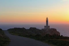Punta Nariga lighthouse in sunset light. Northern Spain Royalty Free Stock Image