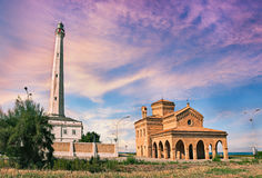 Punta Penna, Vasto, Abruzzo, Italy: lighthouse and church on the Royalty Free Stock Image
