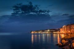 Punta - Piran en la noche Foto de archivo libre de regalías