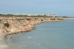 Punta prima is the most southern part of the popular resort of Torrevieja, is recognized as the most ecologically clean region of Royalty Free Stock Photography