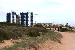 Punta prima is the most southern part of the popular resort of Torrevieja Stock Photos