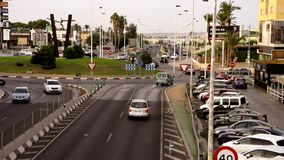Punta Prima roundabout. Torrevieja, Spain - Sept. 02 2018 : Punta Prima roundabout on N332, in late afternoon. Busy as ever stock footage