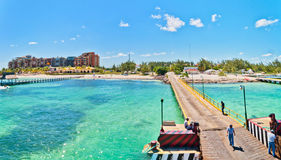 Punta Sam pier and coastline in Cancun, Mexico. Royalty Free Stock Photography