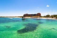 Punta Sam pier and coastline in Cancun, Mexico. Stock Photo