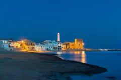 Punta Secca på den blåa timmen Arkivbild