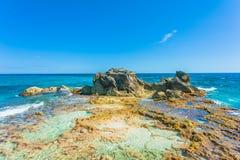 Punta Sur, Isla Mujeres,墨西哥视图 免版税库存照片