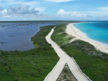 Punta Sur Ecological park in Mexico. Punta Sur Ecological park at the Southern point of Cozumel, Mexico with lagoon at the left and Caribbean Sea at right; view Royalty Free Stock Photos